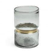 Kave Home Jarra Juliana vidro cinza 23,5 cm detalhe de latão