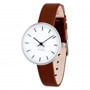 Arne Jacobsen Clocks Armbandsur City Hall Vit/brun 30 mm Arne Jacobsen Clocks