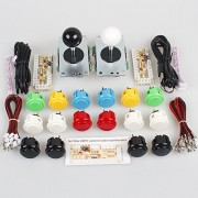 EG Starts Classic 2 Player Sanwa Arcade Video Games Kit DIY Bundle for PC Joystick & Raspberry Pi RetroPie DIY Projects & Mame Jamma Parts - White + Black Stick + 16x OBSF- 30 MIX Colors Buttons