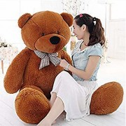 Teddy Bear Feet Lovable/Huggable/Fluffy/Spongy Teddy Bear with Neck Bow for Kids/Girlfriend/Birthday Gift/Boy/Girls- Brown(151cm)