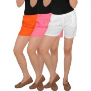 Culture the Dignity Women's Solid Rayon Shorts With Side Pockets Combo of 3 - Orange - Baby Pink - White - C_RSHT_OP2W - Pack of 3 - Free Size