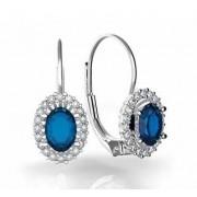 Luxusní náušnice s diamanty, modrý safír, bílé zlato, Natalie, 3880121