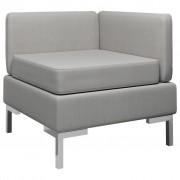 vidaXL Модулен ъглов диван с възглавница, текстил, светлосив