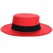Sombrero de fieltro de fieltro de lana de fieltro de lana ancha de estilo vintage - Rojo