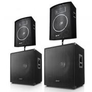 Skytec DJ PA парти комплект 1000 W система с усилвател, тонколони & кабели (2.2-2200-Watt)