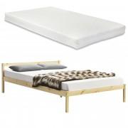 [en.casa] Borovicový rám postele ABWB-2006 s matrací a roštem 140x200 cm
