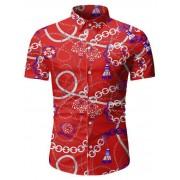 Rosegal Chemise Boutonnée Motif de Chaîne à Frange L