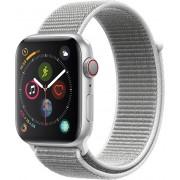 Apple Watch Series 4 44mm stříbrný hliník s bílým provlékacím sportovním řemínkem