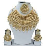 Finekraft Fascinating Marvelous Meena kundan Wedding Designer Gold Plated Bridal Necklace Set