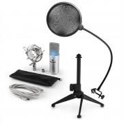 Auna MIC-900S-LED, 3 части USB микрофонен комплект, кондензаторен микрофон + pop-filter + стойка за маса (60001947-V2)