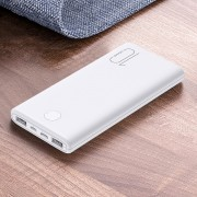 USAMS US-CD137 10000mAh Power Bank Portable Charger for Huawei Apple Xiaomi Etc. - White