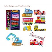 KINGSEVEN Practice Stringing Card Toys Lacing Cards Game Educational Toy for Kids