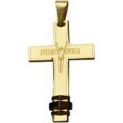 Men Style High Polished Vintage Classic Crucifix Cross Jesus Cross Locket Gold Titanium Necklace Pendant For Men