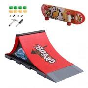 Skate Park Kit Ramp Parts - Mini Finger Skateboard Park for Tech Deck Fingerboard Ultimate Parks (A)