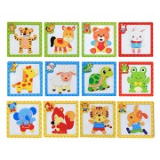 Wishkey Wooden Colorful Learning Magnetic Animal Puzzle Blocks Game with Drawing Board Educational Toy Set of 12 for Kids