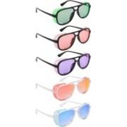 NuVew Wayfarer, Shield Sunglasses(Green, Orange, Violet, Red, Golden, Blue)