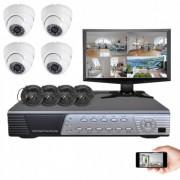 Kit vidéosurveillance 4 dômes CMOS 600 lignes