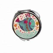 Huayuanhurug Espejo redondo portátil de bolsillo de mano para maquillaje para mujeres y niñas 2,75 pulgadas, Colorido diseño ornamental de ballena grande con flores y corazones alrededor de la impresión.