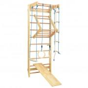 vidaXL Conj. escalada p/ interior escadas argolas e escorrega madeira