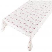 Merkloos Buiten tafelkleed/tafelzeil wit/roze flamingo print 140 x 245 cm