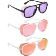 NuVew Wayfarer, Shield Sunglasses(Violet, Pink, Red, Golden)