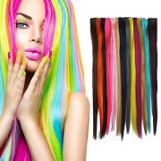 Smilco 24 Pcs 22 Straight Colored Hair Extensions Clip in Hair Extensions Include 24 Different Multiple Colors