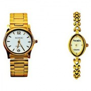 Sonix Ladies Designer And Gents White Dial Golden Chain Watches