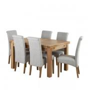"""Oak Furnitureland Natural Solid Oak Dining Sets - 4ft 7"""" Extending Dining Table with 6 Chairs - Dorset Range - Oak Furnitureland"""