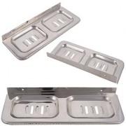 Shruti (Saloni) Heavy Duty Classic Stainless Steel Double Square Soap Dish/Soap tray/Soap Rack for Multi Bathroom Accessories (8 cm x 6.25 cm x 6.25 cm Metallic) -1686