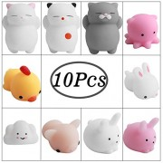 Hicdaw 10 Pcs Squishy Animals Mochi Toys Mini Stress Squishies Relief Animal Kawai Squeeze