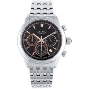 Rotary Round Dial Silver Chronograph For Men-Gb0287604
