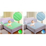 Fully WaterProof Mattress Protector Sheet For Double Bed With Elastic Strap..Combo Of Blue And Green