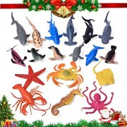 Sea Animals Bath Toys Rubber Ocean Creatures Collection Underwater Marine Fish Sea Life Creature, Pool Toy, Shark, Blue Whale, Starfish, Crab 18 Pcs - Includes a Storage Bag by Fun Little Toys