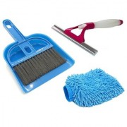 De Ultimate Combo Of Mini Dustpan Broom Set Microfiber Cleaning Hand Glove Mitts With Non Scratch Sprayer Glass Wiper