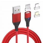 Wpower mágneses USB kábel, 3A PD-QC gyors-töltés, piros