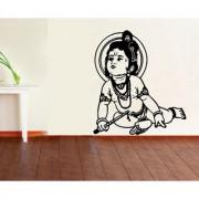 EJA Art krishna Black Wall Sticker (Material - PVC) (Pec - 1) With Free Set of 12 pec butterflies sticker