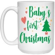 Baby's First Christmas - Christmas Quotes - 15 oz. White Mug - 2027