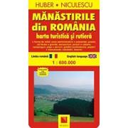 Manastirile din Romania. Harta turistica si rutiera/Huber Kartographie