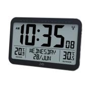 Elegantní digitální rádiem řízené hodiny se stříbrným rámečkem JVD RB9385