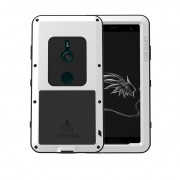 LOVE MEI Dust-proof Shock-proof Splash-proof Powerful Metal + Silicone Defender Cover for Sony Xperia XZ3 - White