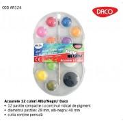 Acuarele 12 culori Albu'Negru' Daco