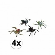 Merkloos Plastic spinnen 10 cm set 4 stuks