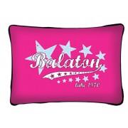 Balaton díszpárna, csillagok, rózsaszín