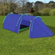 Водоустойчива палатка за къмпинг за 4 човека, цвят морско син/зелен