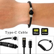 DZT1968 1PC New 24cm non-toxic Black Creative 8Pin Type-C/USB Data Cable Bead Bracelet Charger For Smart Phone (type-c)
