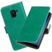 BestCases - Samsung Galaxy A8 Plus 2018 Pull-Up booktype hoesje groen