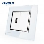 Priza USB Livolo cu rama din sticla, alb