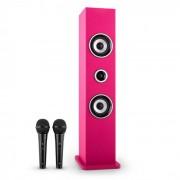 oneConcept Karaboom Conjunto Altifalante Karaoke 2 Microfones Rosa