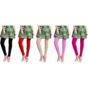 Jakqo Women's Cotton Plain Long Length Legging (Free Size Pack of 5 Black Red Tan Baby Pink Pink)