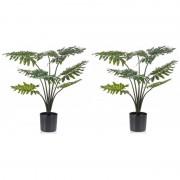 Shoppartners 2 stuks groene Philodendron kunstplanten 60 cm met zwarte pot - Kunstplanten